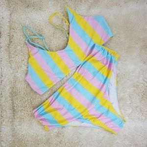 Other - Striped Thin Strap Top With High Leg Bikini Set